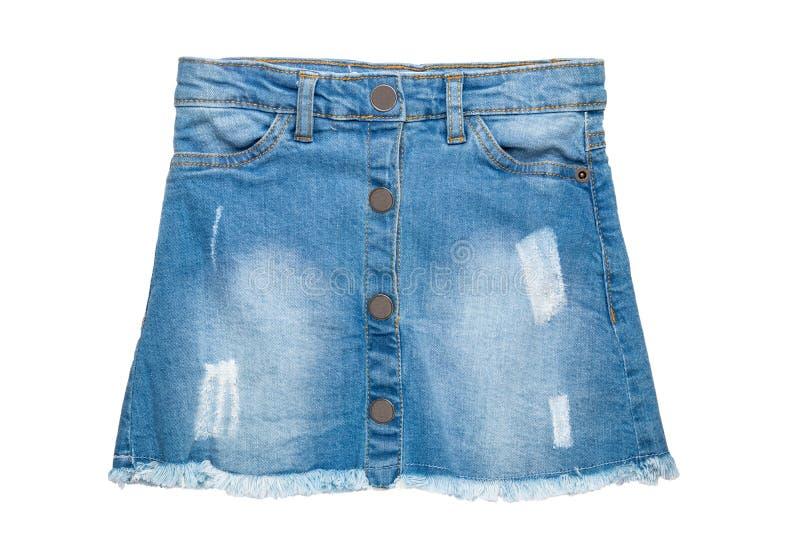 Cajg sp?dnica W górę seksownej krótkiej niebiescy dżinsy spódnicy odizolowywającej na białym tle Drelichowa moda dla dziewczyn obrazy royalty free
