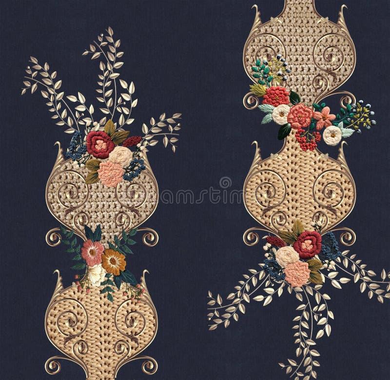 Cajg tekstury broderii kwiaty royalty ilustracja