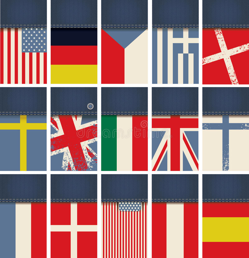 Cajg tkanina z flaga ilustracji
