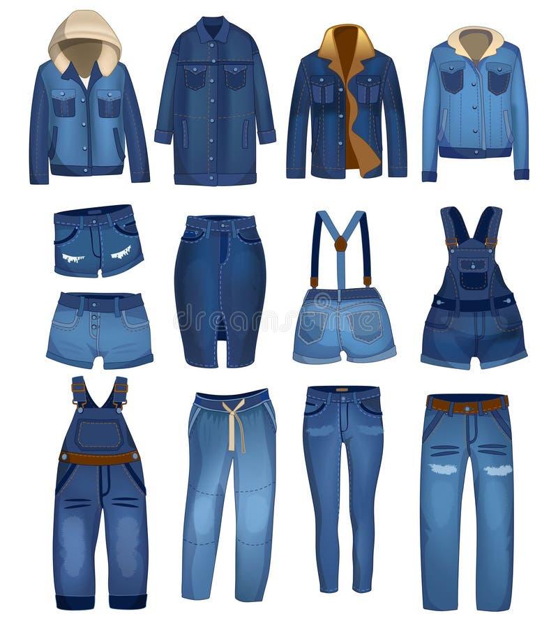 Cajgi odziewa kolekcję z rozdzierającymi szczegółami Zmrok cajgi, skróty, kurtka style i napady - błękitni drelichowi, i W royalty ilustracja