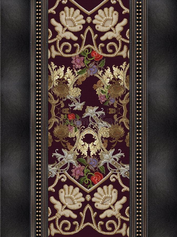 Cajgowi czarni hafciarscy złoto kwiaty zdjęcie royalty free