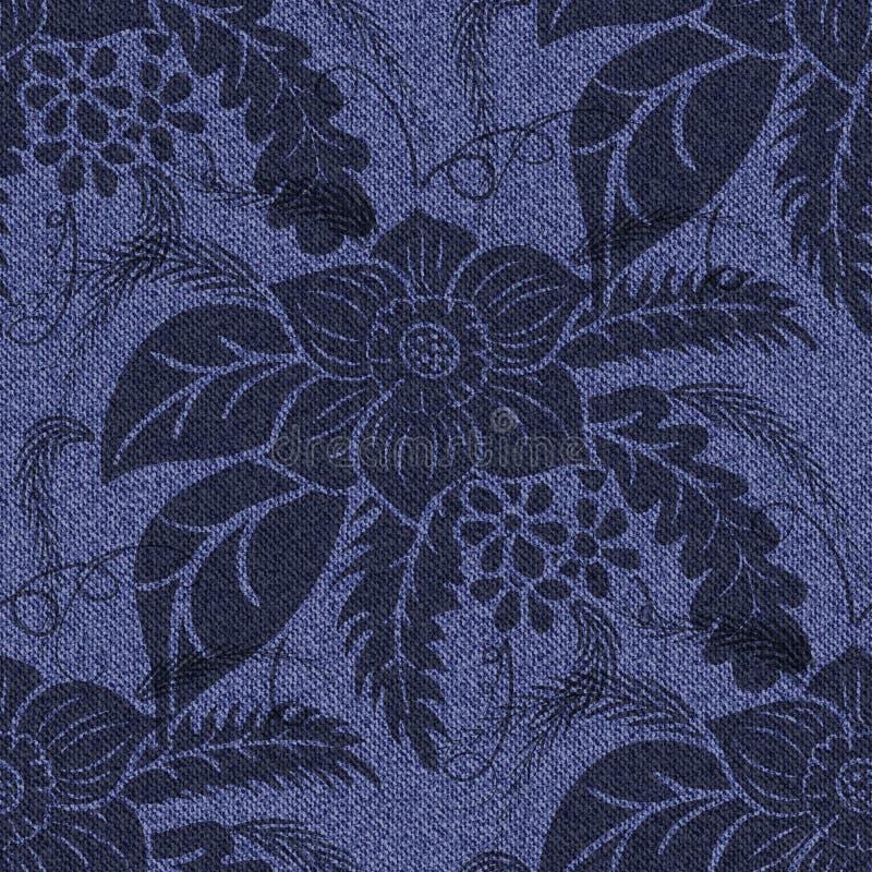 Cajgu bezszwowy tło z drukowanymi czarnymi kwiatami ilustracja wektor