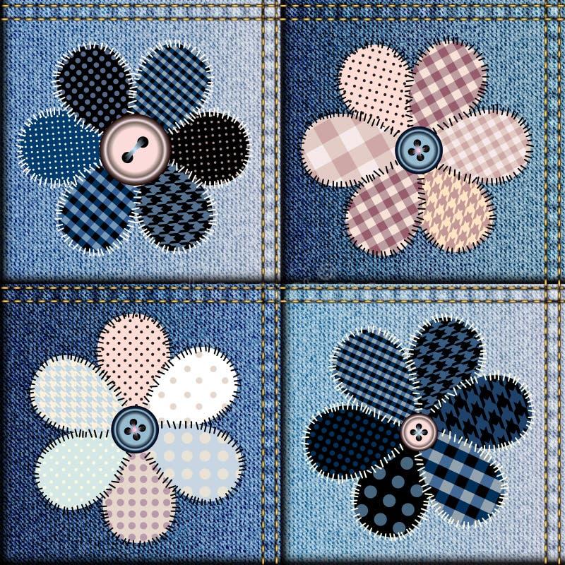 Cajgu patchwork z aplikacją kwiaty ilustracja wektor