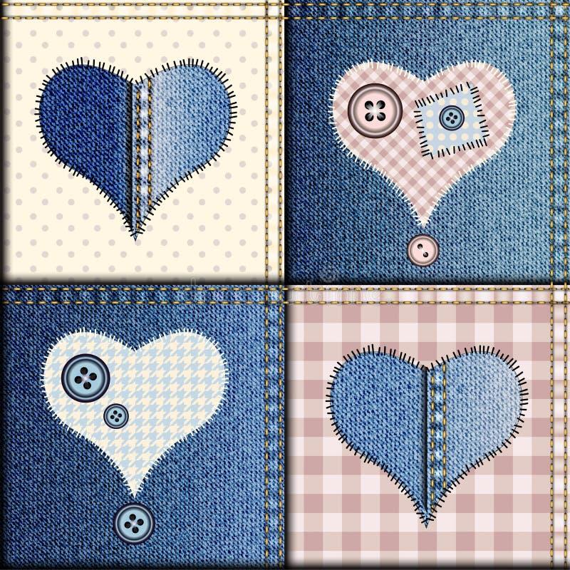 Cajgu patchwork z aplikacją serca royalty ilustracja