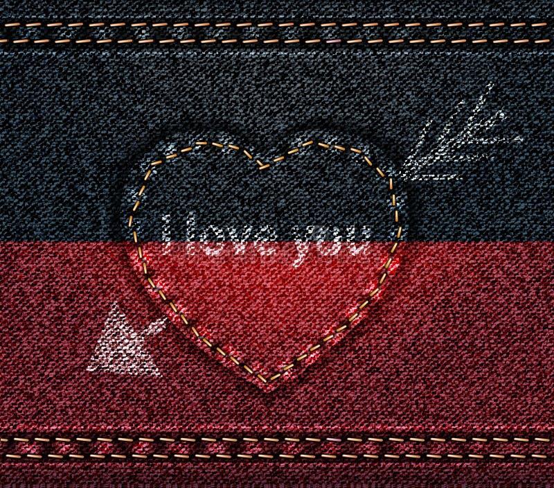 Cajgu serce przebijający z strzałą, kocham Ciebie, tekstury tkaniny drelich, czarna czerwień ilustracji