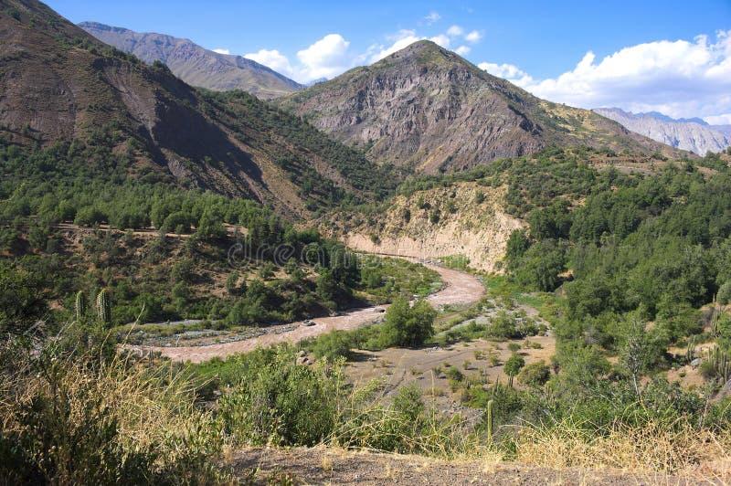 Cajon del Maipo - barranco - XVII - Chile foto de archivo libre de regalías