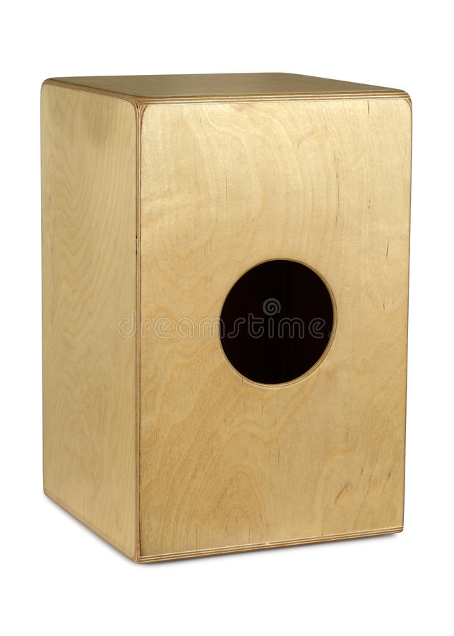 Cajon hand drum. Isolated photograph of a Caj�n hand drum from Peru. Clipping path included royalty free stock photography