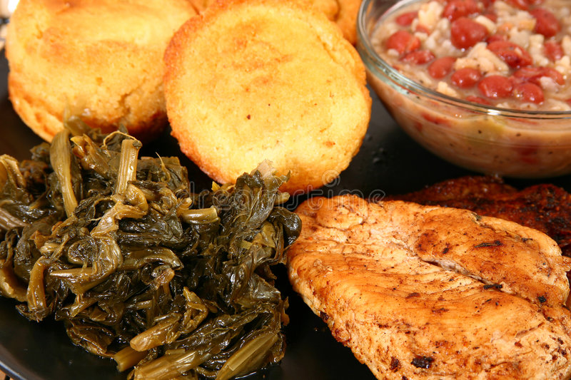 Download Cajun Chicken And Turnip Greens Royalty Free Stock Photography - Image: 6359407