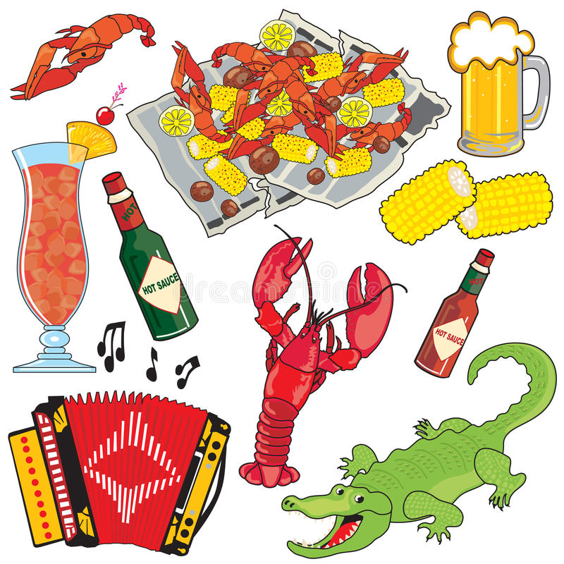 cajun clipart喝ele食物图标音乐 皇族释放例证