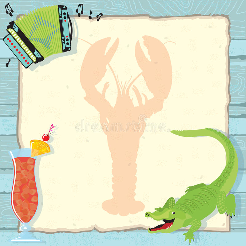 Cajun Lobster Boil Party Invitation. Fun Cajun lobster boil party invitation with accordion, alligator, hurricane cocktail and a lobster silhouette on vintage stock illustration