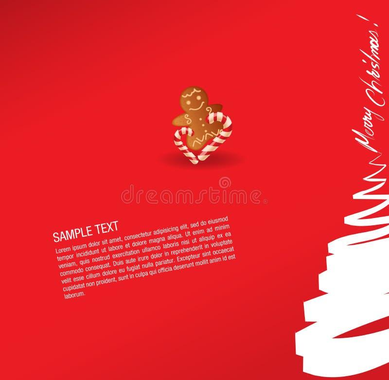 Cak del dolce e del pan di zenzero della cartolina d'auguri di natale royalty illustrazione gratis