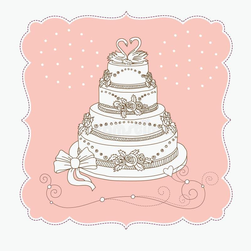 Cak do casamento ilustração do vetor
