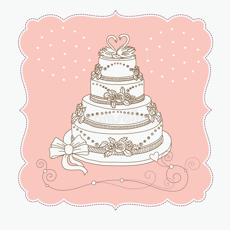 cakbröllop vektor illustrationer