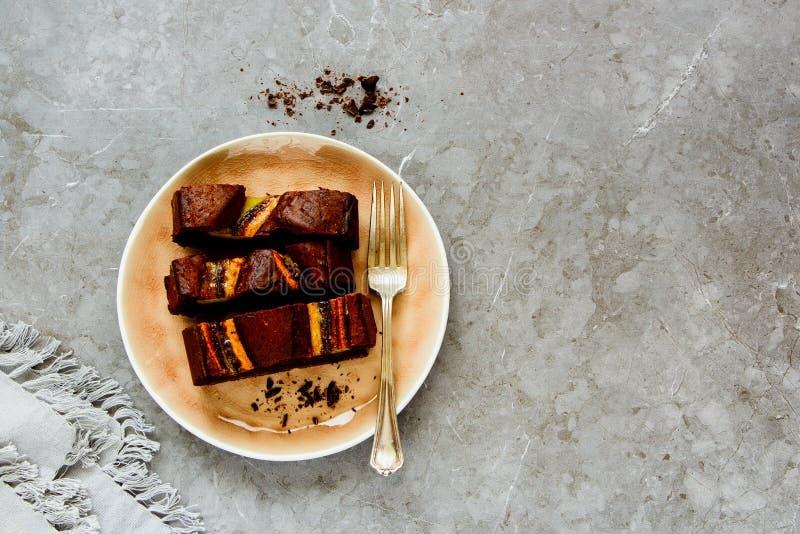 Cake à la banane de chocolat images stock