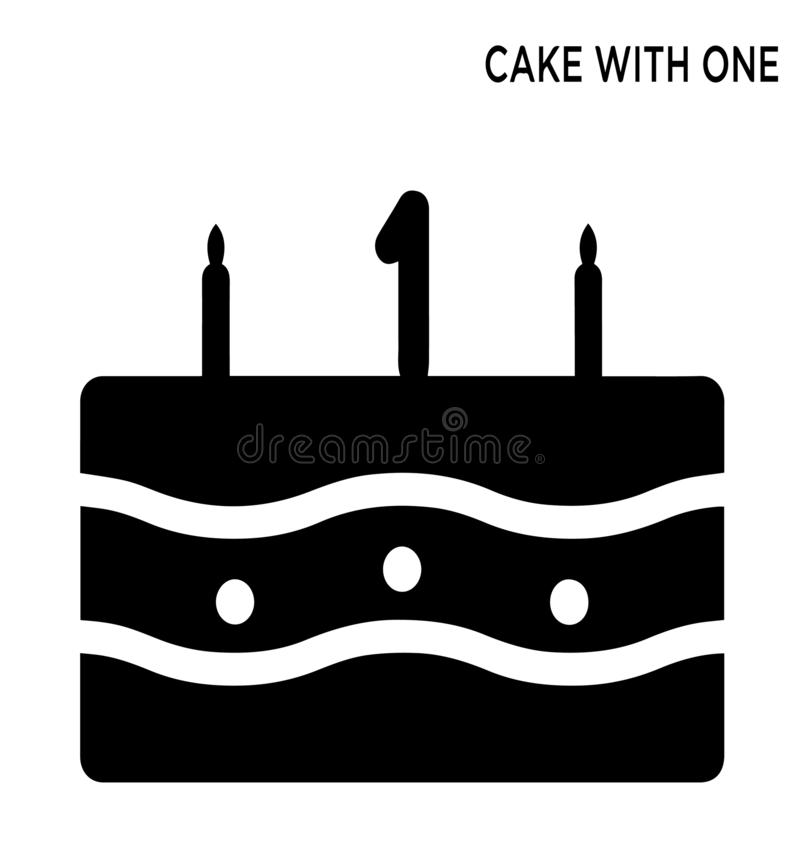 Cake één kaars editable pictogram royalty-vrije illustratie