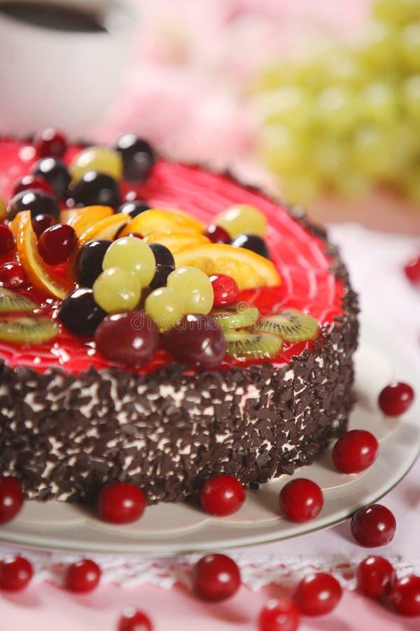 Cake. Beautiful cake with fresh fruits stock images