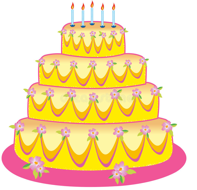 Cake. Sweet yellow pink birthday cake with canldles for anniversary symbol party and other vector illustration
