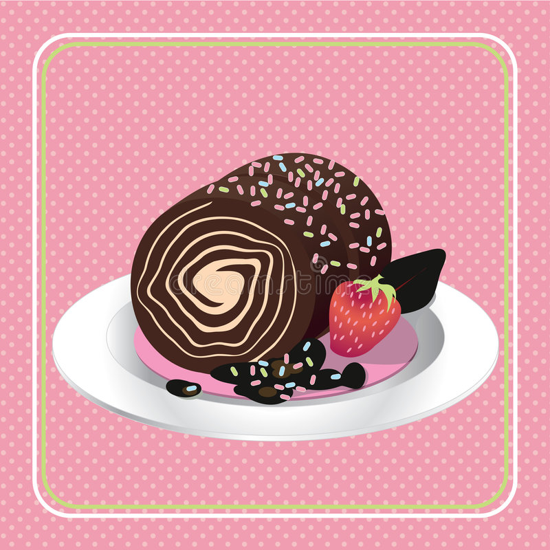 Cake. An illustration of decorated chocolate roll cake in white plate stock illustration