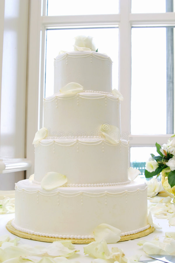 Cake. White wedding cake royalty free stock photo