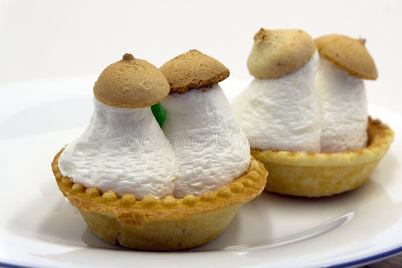 Cake basket with mushrooms. Cake mushrooms white cream on white plate. Homemade mushroom-shaped cookies. Bakery sweet cake basket stock photography