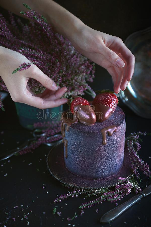 Cake with berries, covered with blue-violet glaze and chocolate with flowers, Cosmic cake, Hand Made pastry with woman hands, Dark. Background stock photos