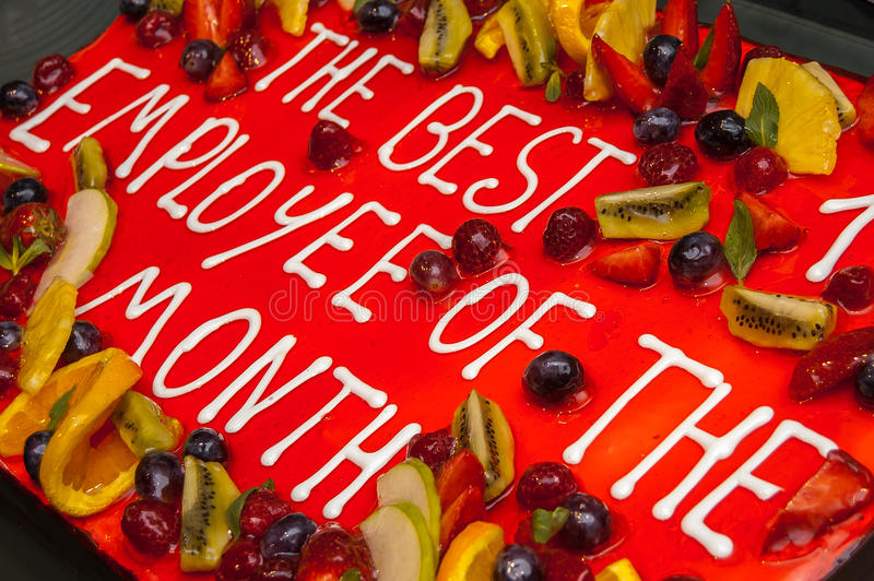 Cake for Best Employee of the Month stock images
