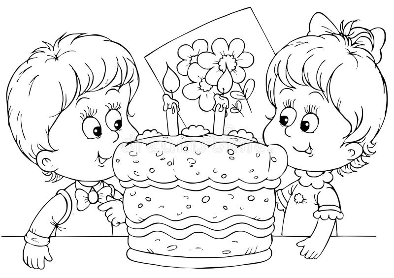 Download Cake for a birthday stock illustration. Image of illustration - 15011828