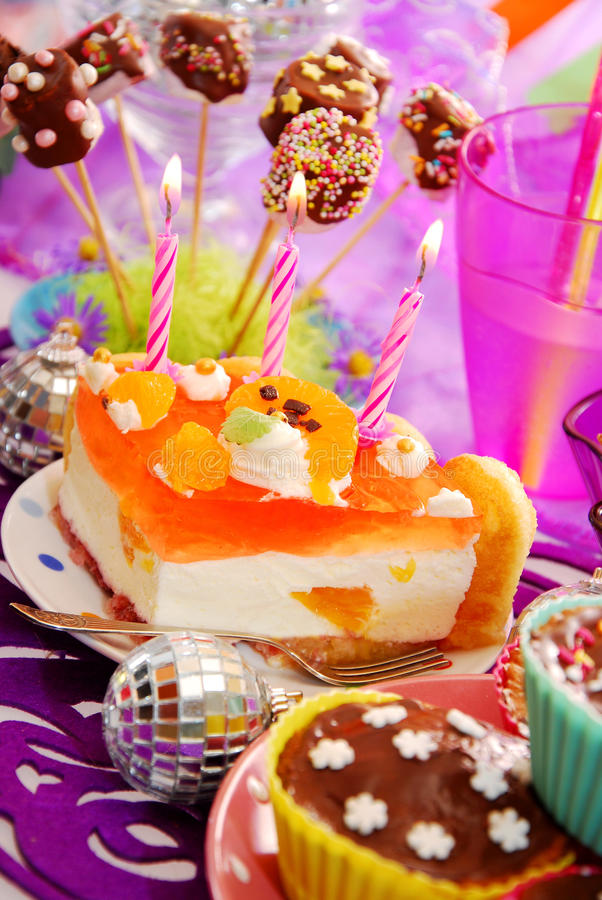 Cake with on birthday party table for child stock photos