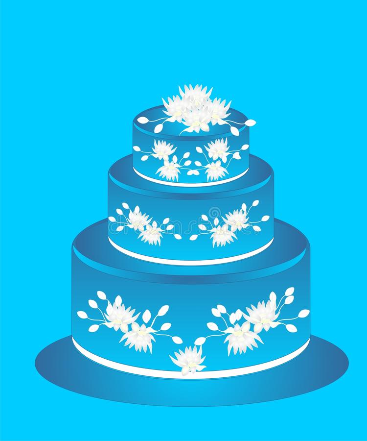 Download Cake With Blue Icing And White Flowers Stock Vector - Image: 18495689