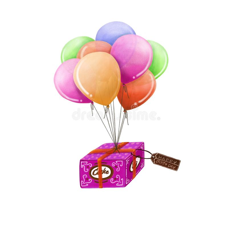 Cake box and balloon, Happy Birthday royalty free stock photography