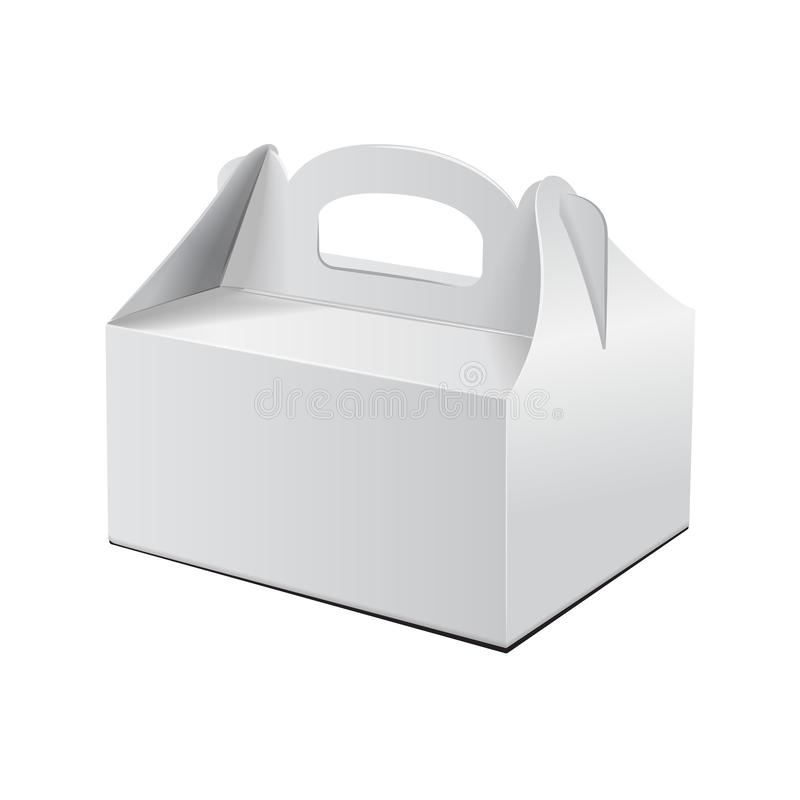 Free Cake Box. For Fast Food, Gift, Etc. Carry Packaging. Vector Mockup. White Template Of Cardboard Package Royalty Free Stock Images - 125330049