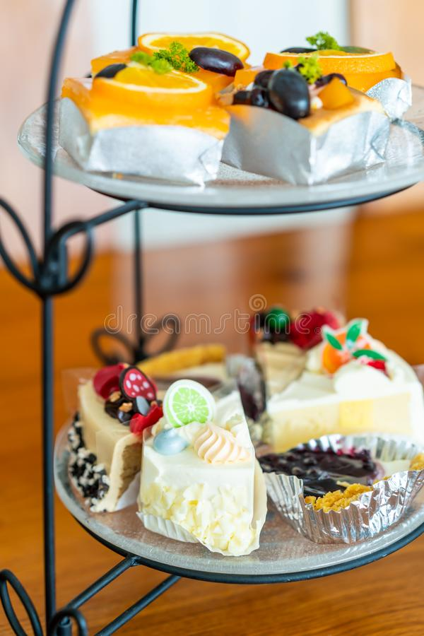 cake on buffet line royalty free stock photography