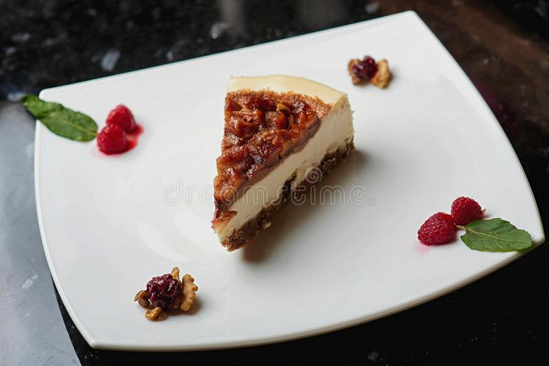 Cheesecake in powdered sugar royalty free stock photography