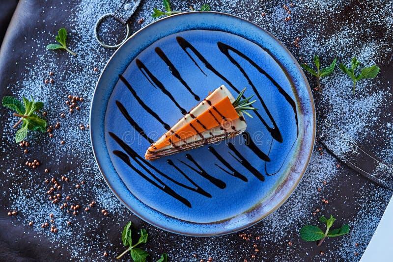 Chocolate cake in powdered sugar stock photo