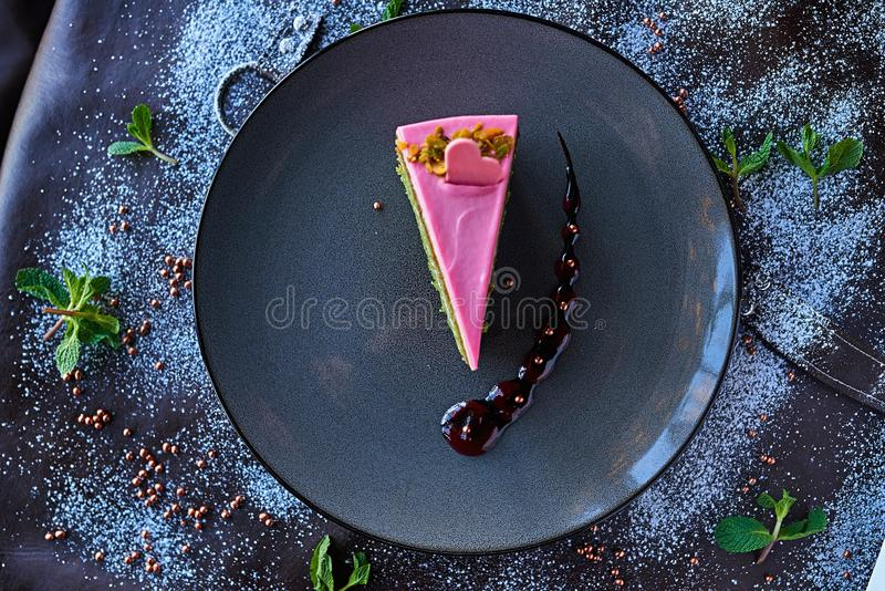Chocolate cake in powdered sugar stock images