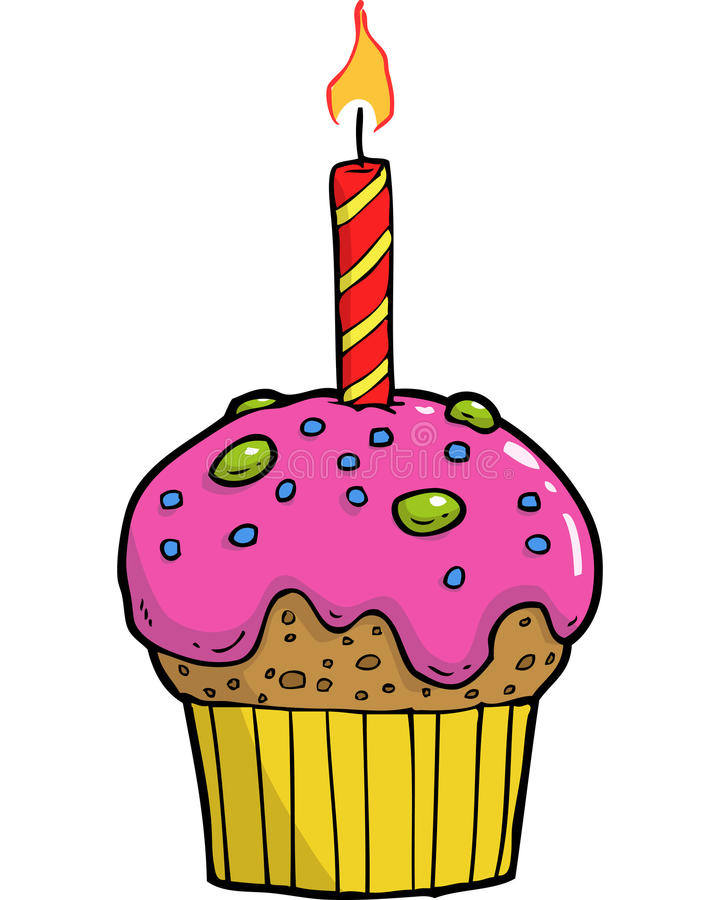 Cake with candle vector illustration