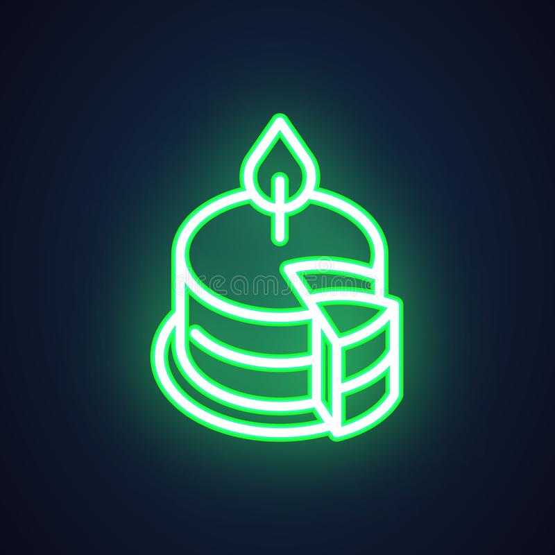 Cake with candle neon icon. Holiday and party symbol. Illuminated sign for advertisement, market, shop, store, cafe stock illustration