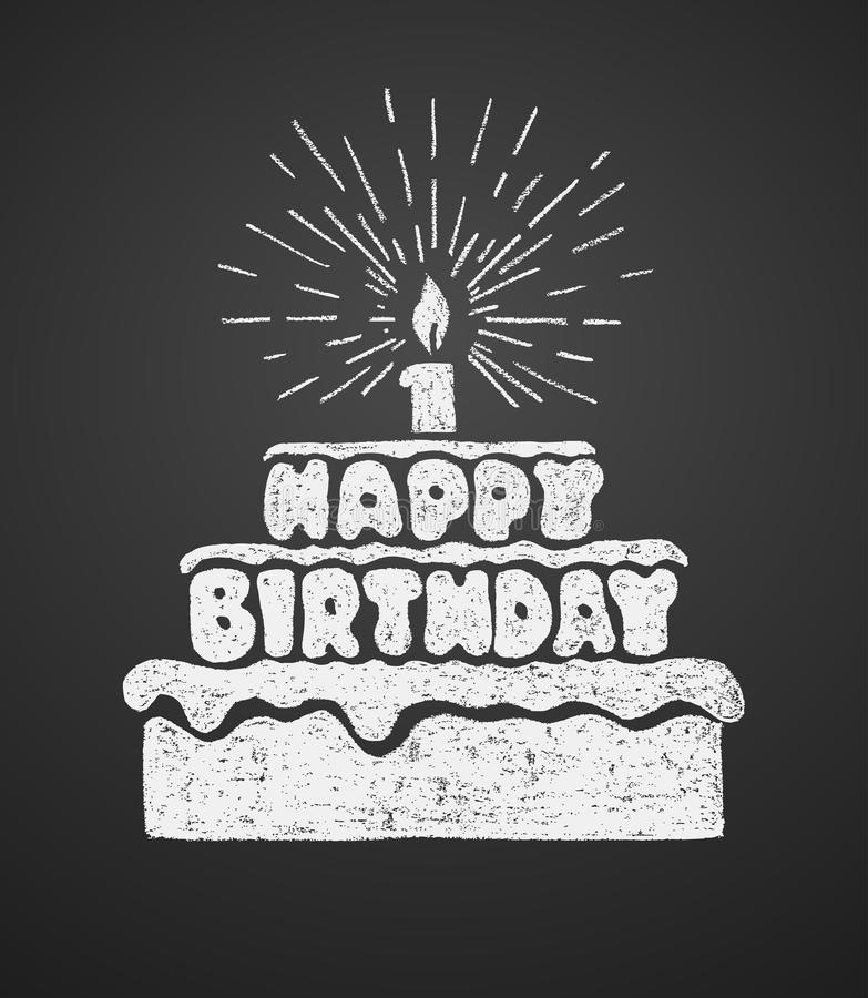 Cake With A Candle And Happy Birthday Text. Vector Illustration On The Chalkboard Stock Vector