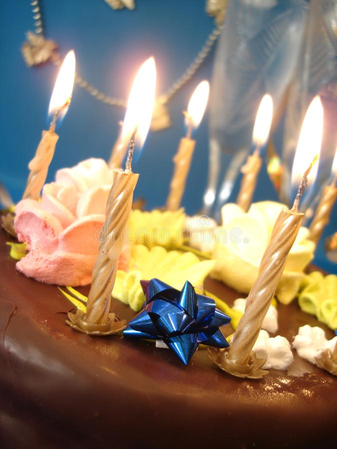 Cake and candles royalty free stock photos