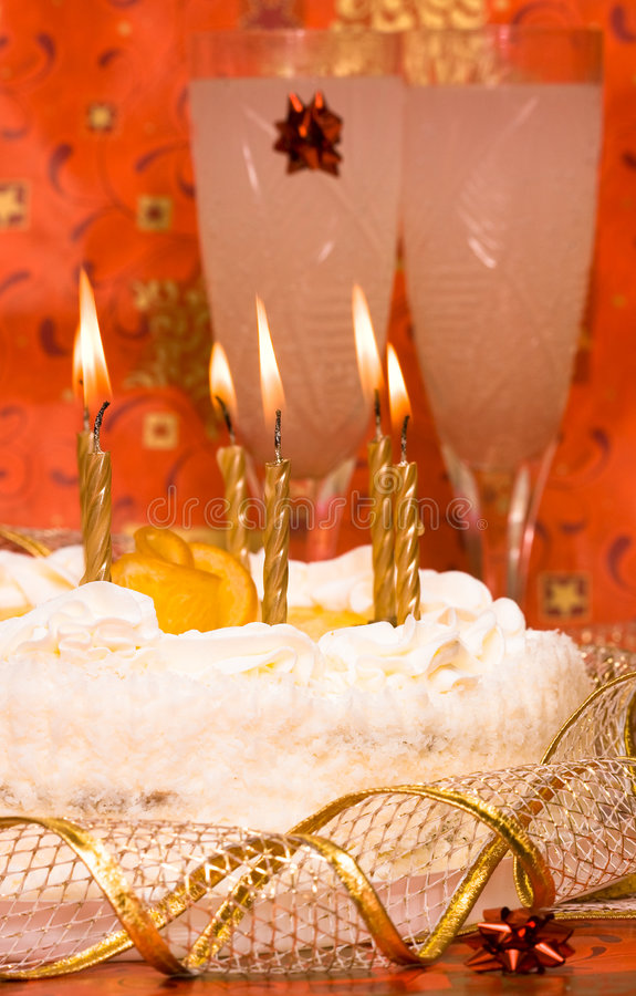 Cake and candles royalty free stock photo