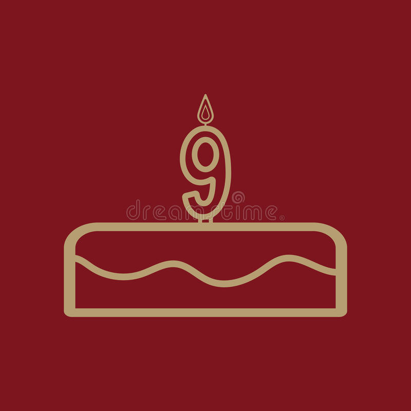 Cake with candles in the form of number 9 icon. Birthday symbol. Flat Vector illustration vector illustration