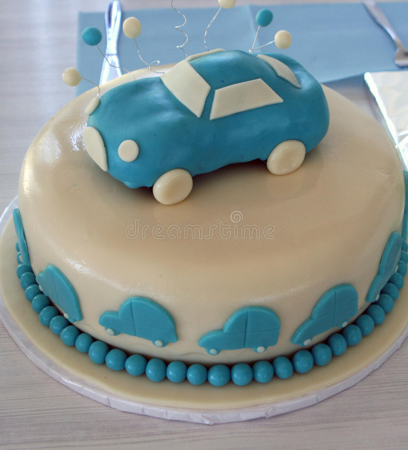 Cake with car decorations stock photo. Image of food ...