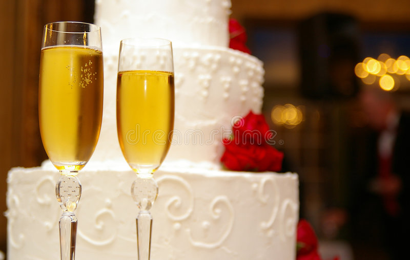 Cake and champagne stock photos