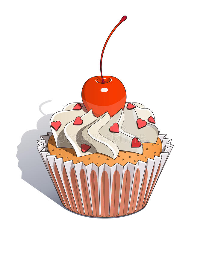 Cake with cherry stock illustration