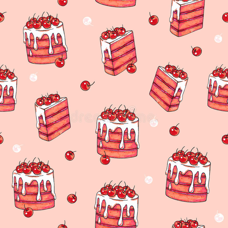 Cake cherry sweet on a pink background. Seamless pattern for design. Animation illustrations. Handwork stock illustration