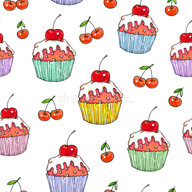 Cake cherry sweet on a white background. Seamless pattern for design. Animation illustrations. Handwork vector illustration