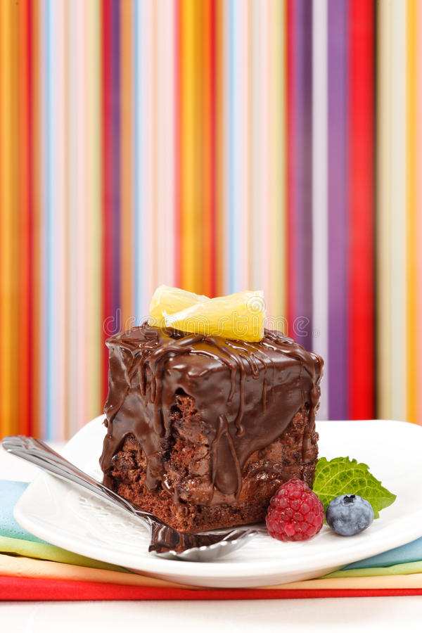 Download Cake With A Chocolate Gloss On Plate Royalty Free Stock Images - Image: 28933299
