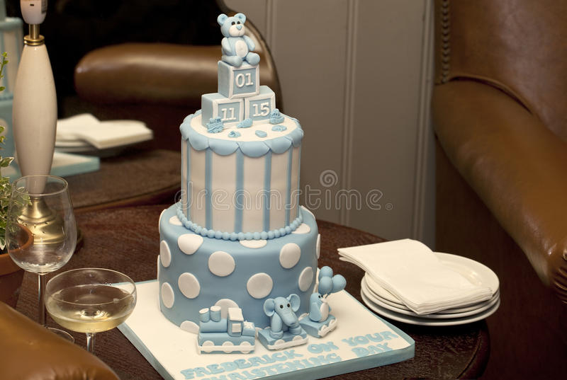 Cake for a Christening. stock image