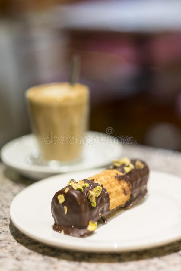 Cake and coffee on cafe table royalty free stock photos