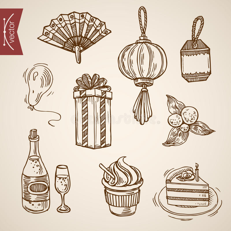Cake coffee handdrawn engraving holiday vintage retro vector. Handy fan Chinese lantern cake cream coffee champagne balloon. Holiday celebration handdrawn royalty free illustration